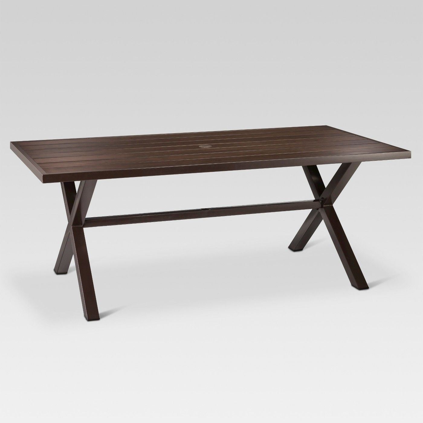 0e19aecc53614 Mayhew Aluminum Top X-Base Rectangle Patio Dining Table - Brown -  Threshold™ - image 2 of 3