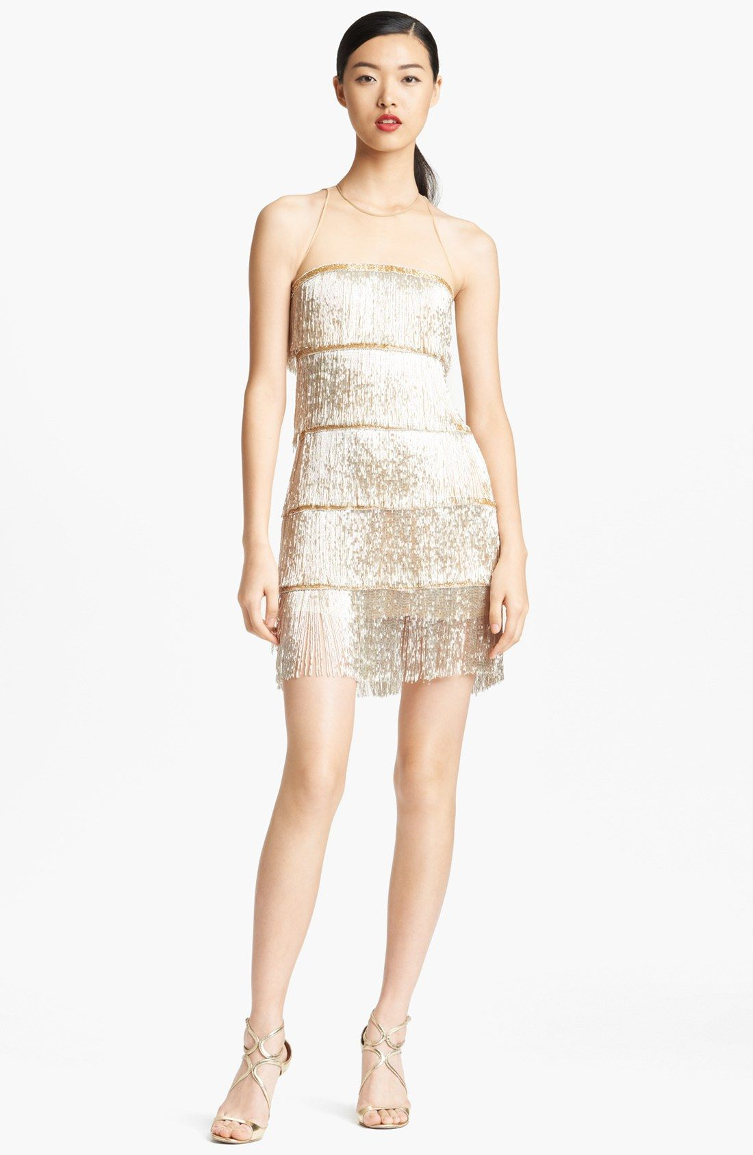 naeem-khan-silver-hand-beaded-fringe-cocktail-dress-product-1 ...