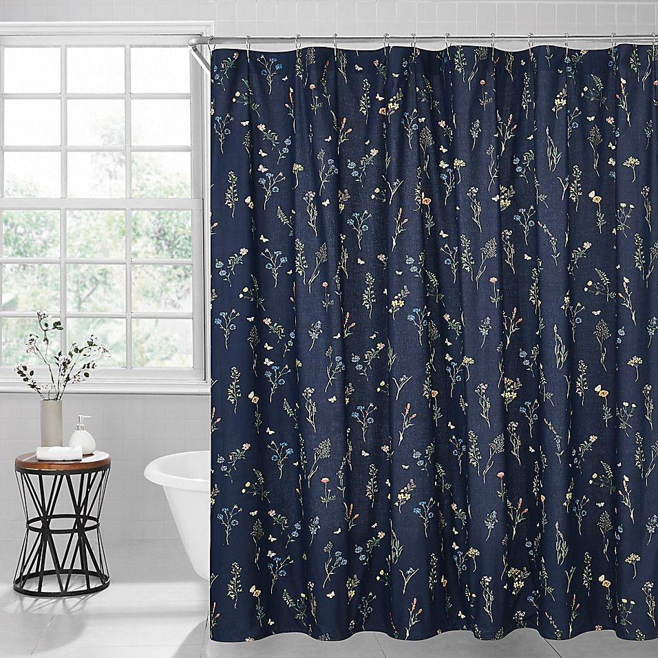 Sophie Floral 72 X 96 Shower Curtain In Midnight Floral Shower Curtains Curtains Shower