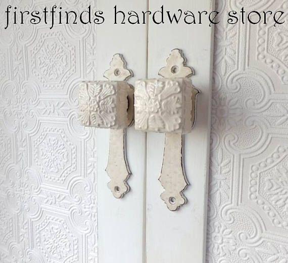 shabby chic cabinet door pulls offwhite pantry handles - Cabinet Door Pulls