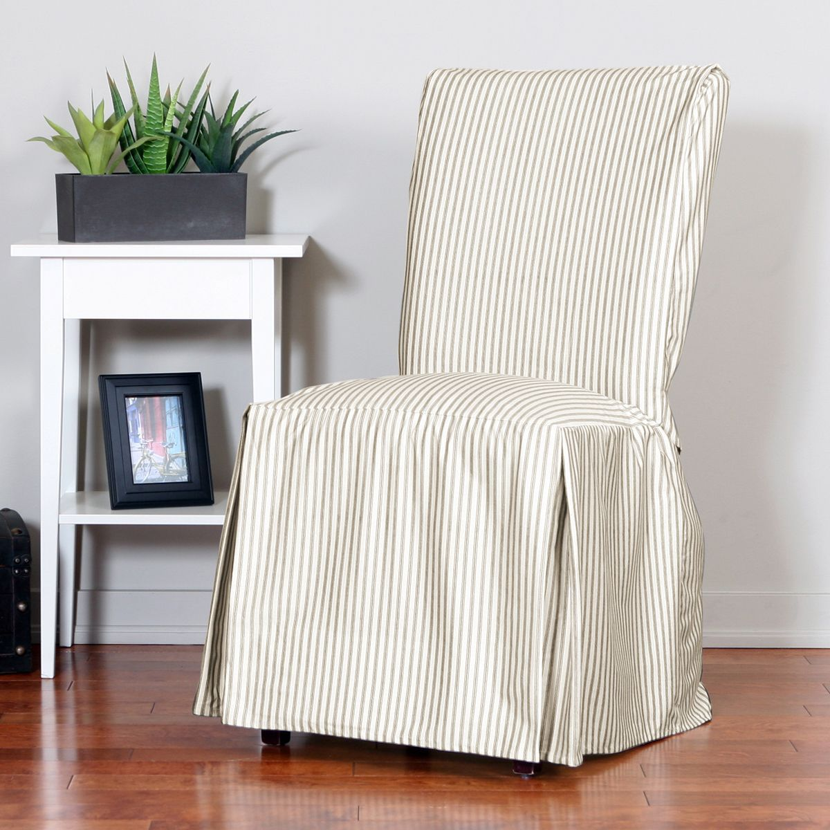 Ticking Relaxed Fit Long Box Pleat Parsons Chair Slipcover