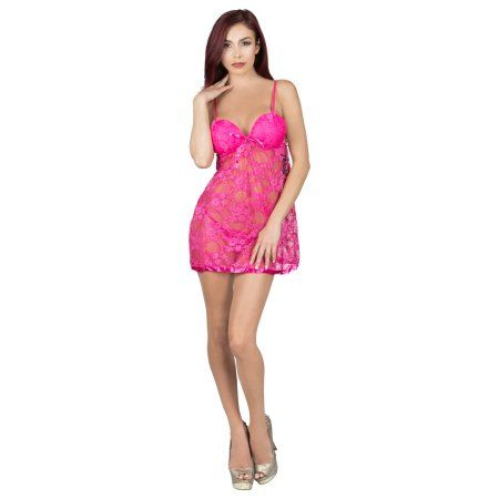 b4cf3c66934 Aerusi Women s Adult Lingerie Night Wear Lace Babydoll Chemise with G-String  Thong
