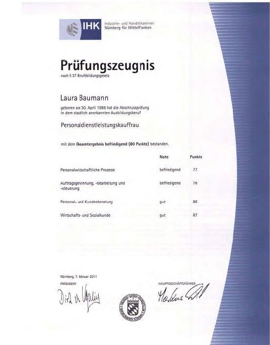 Prüfungszeugnis Personaldienstleistungskauffrau Ihk Von Laura
