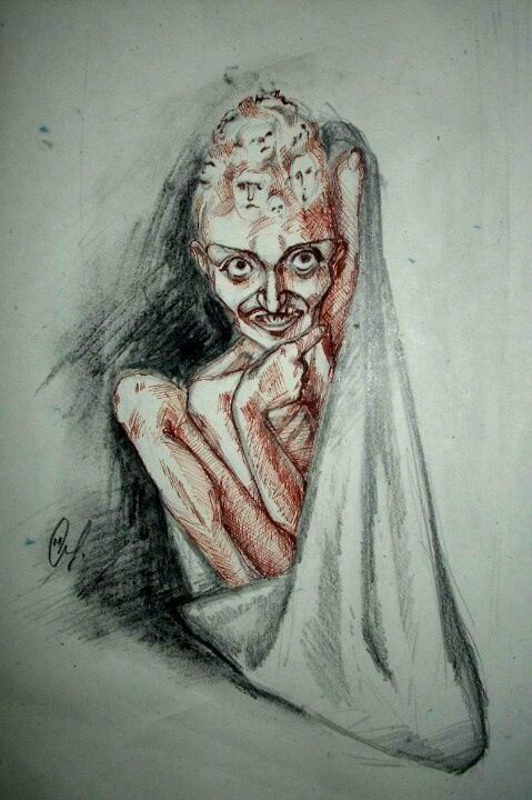 Drawn By A Schizophrenic The Faces In The Head Are Quite Haunting Schizophrenia Art Schizophrenia Schizophrenic