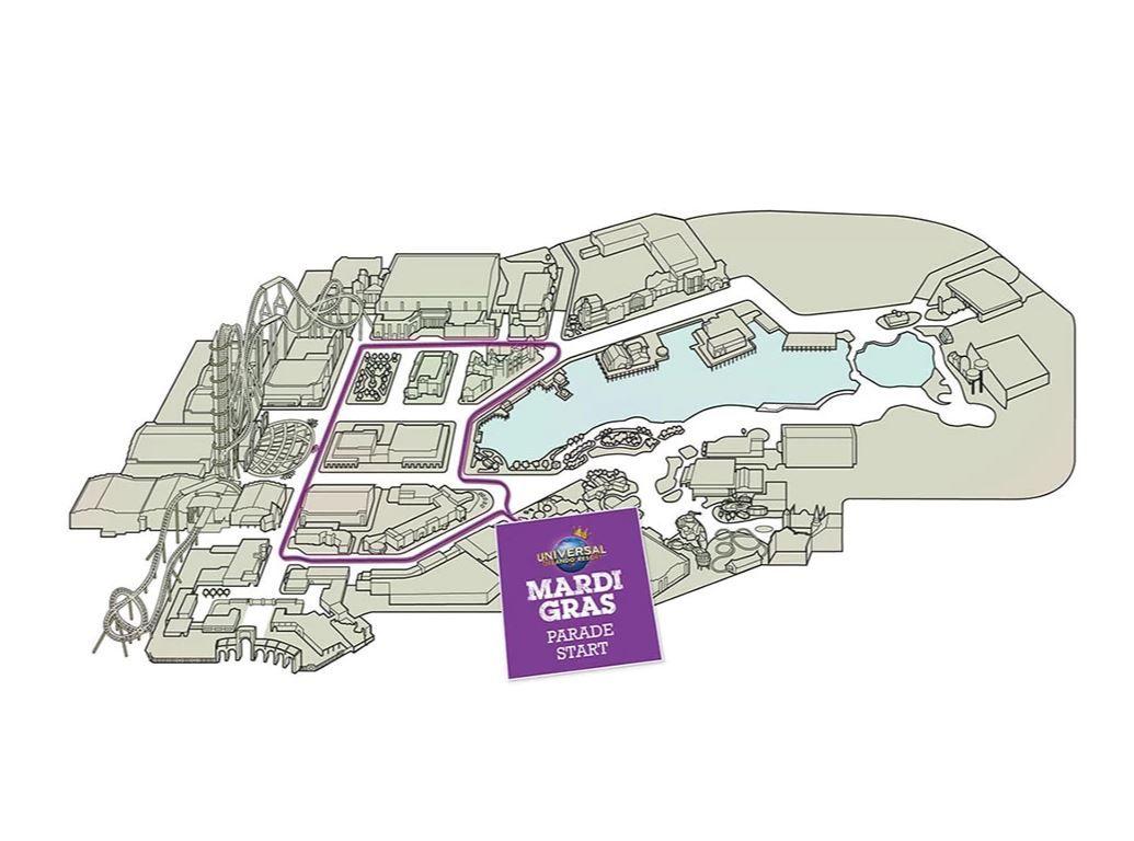 Mapa trajeto do desfile Mardi Gras