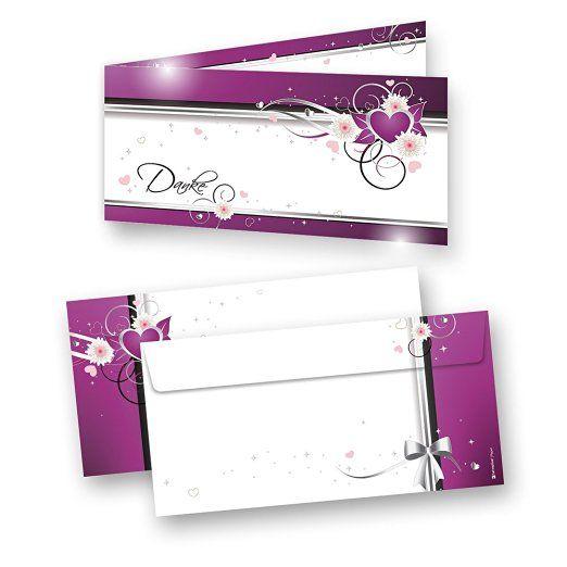 #Danksagungskarten #Hochzeit Herzen (20 Sets) sehr elegante Dankeskarten für Hochzeit, inkl. Dreieckstaschen für Ihr Hochzeitsbild
