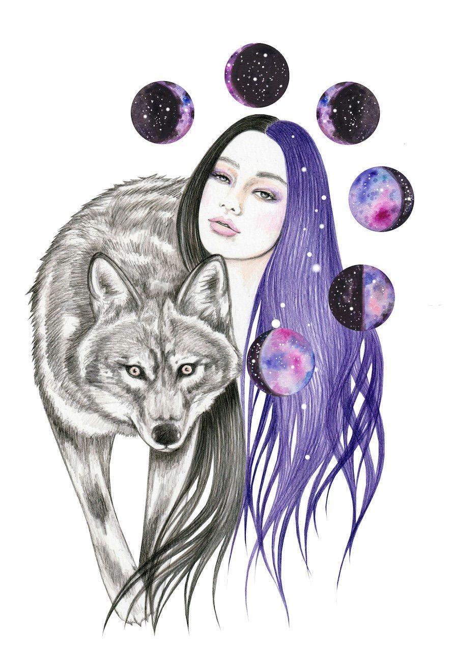 Milky Way Art Print By Andreahrnjak Society6 In 2020 Wolf Artwork Art Celestial Art