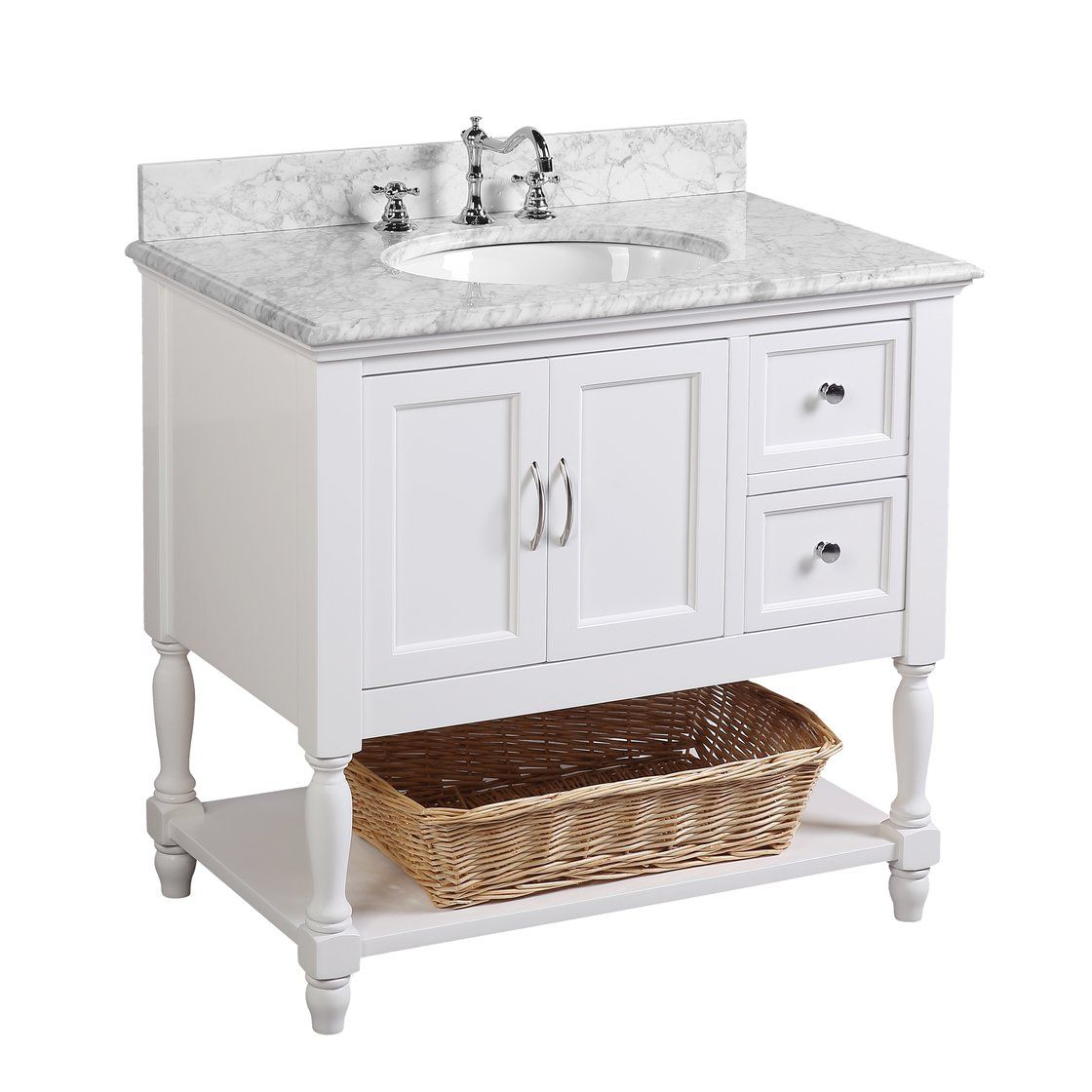 Beverly 36 Inch Vanity With Carrara Marble Top Single Bathroom Vanity Bathroom Vanity Vanity Set