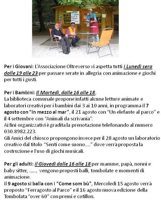 Chioscho solidale http://www.panesalamina.com/2012/2997-serate-al-chiosco-solidale-a-villa-carcina.html