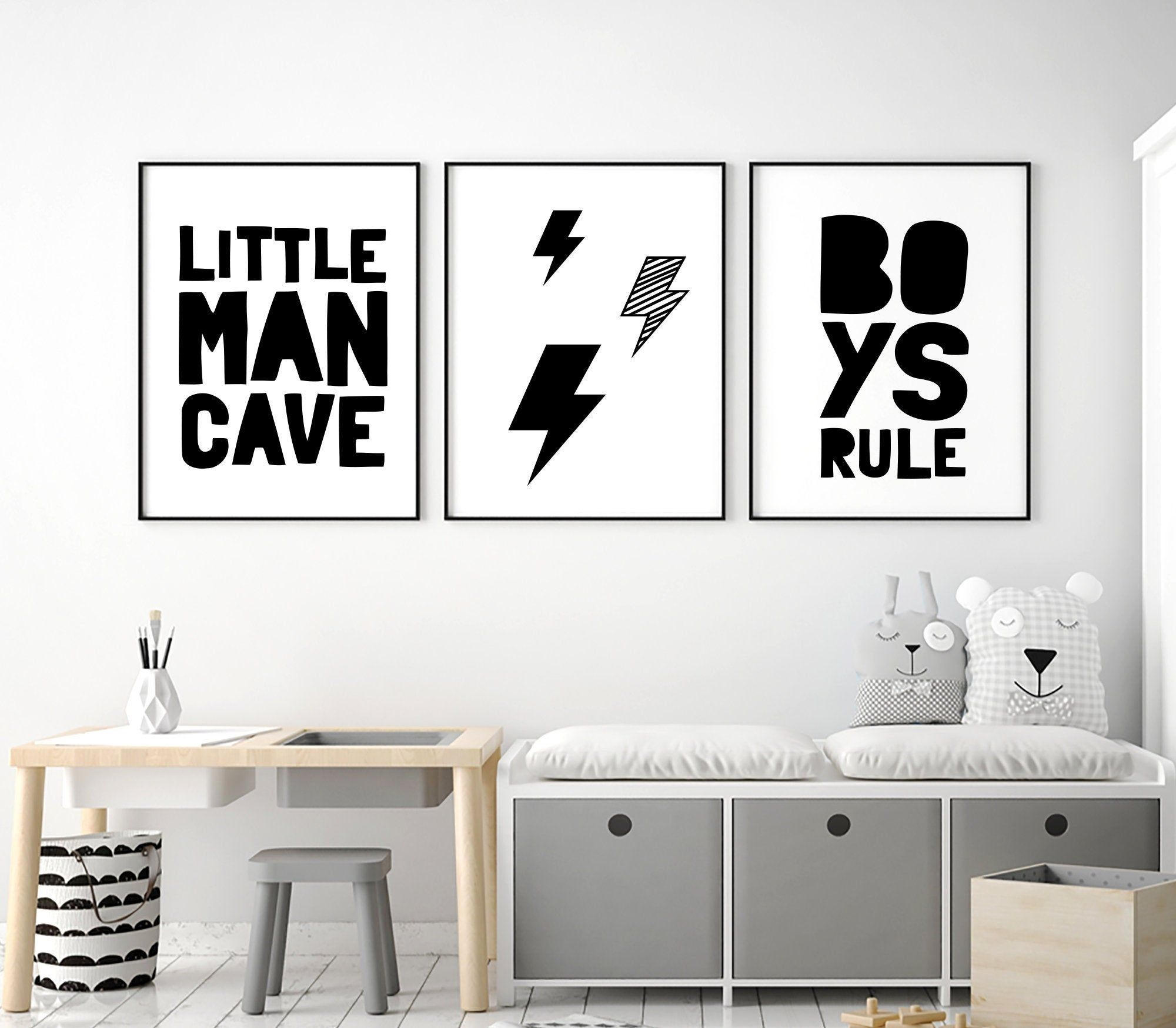 Boys Printable Art Little Man Cave Boys Rule Set Of 3 Wall Art Boys Bedroom Print Set Boy Quotes Boys Nursery Decor Instant Download Boys Bedroom Wall Art Nursery Decor Boy