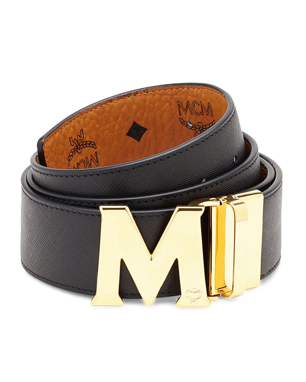 473c0793 Visetos Reversible M-Buckle Monogram Belt, Red - MCM | *Neiman ...