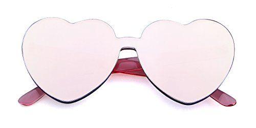 f52b815001 Amazon.com  Heart Shape Rimless Sunglasses One Piece Transparent Candy  Color Eyewear (Barbie Pink