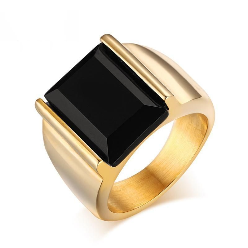 Classic Black Large Stone Mens Ring *Gold or Silver* – 7 / Gold-color