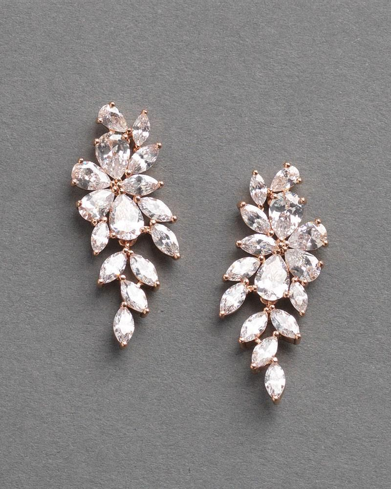 c03ad4167 Floral CZ Pear Drop Earrings in 2019 | Jewelery | Gold bridal ...