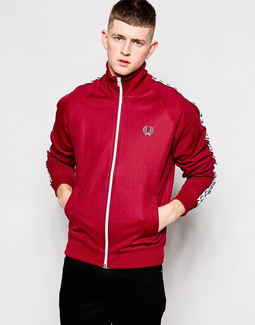 Image 1 of Fred Perry Track Top with Taping in Maroon