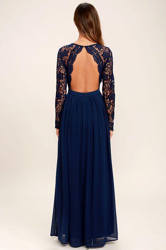 eDressit Long Sleeves Blue Plunging V Neck Lace Dress | eDressit ...