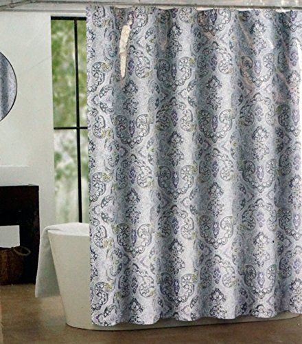 Tahari Fabric Shower Curtain Gray Olive And Purple Medallions Mica