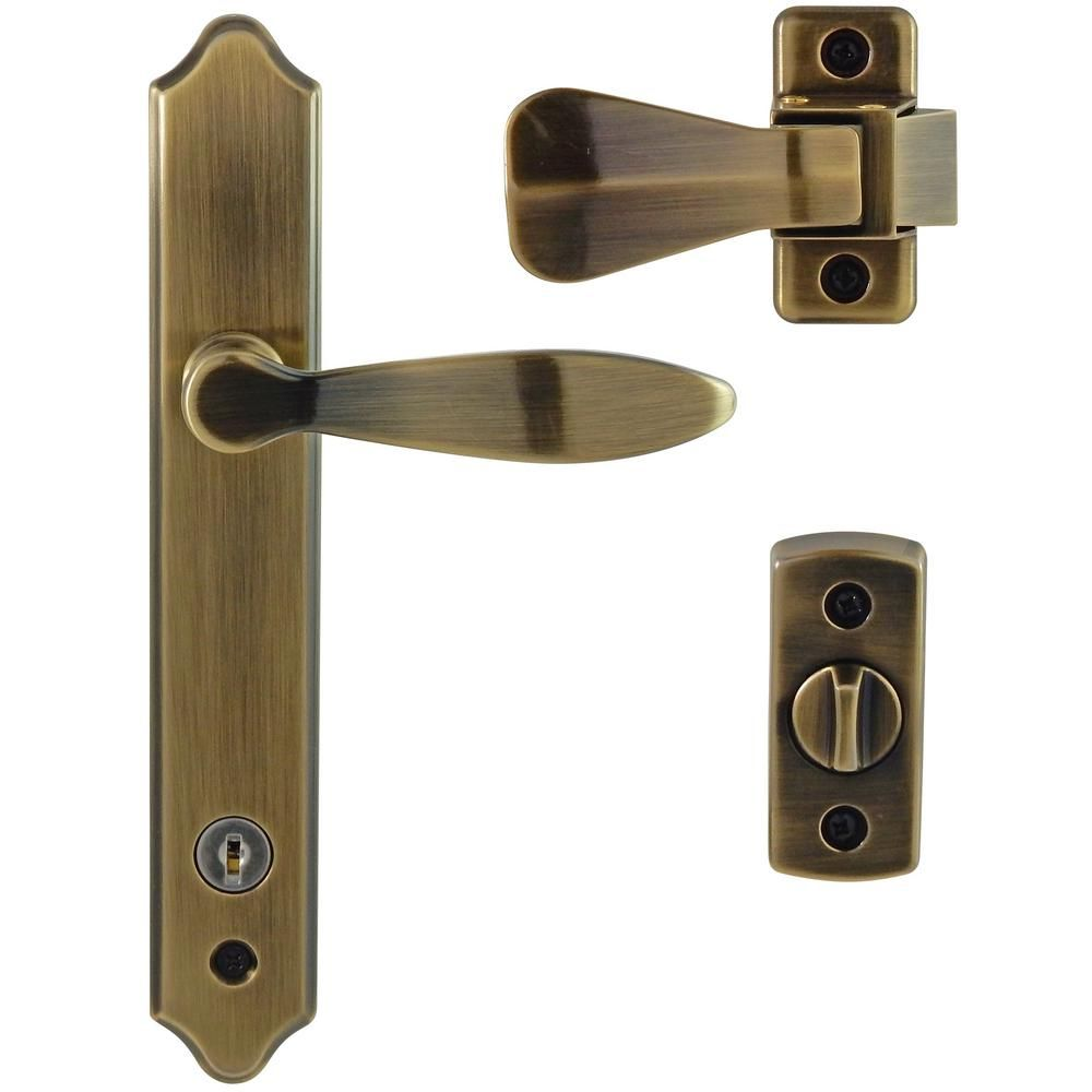 IDEAL Security Deluxe Antique Brass Storm Door Handle Set With Deadbolt