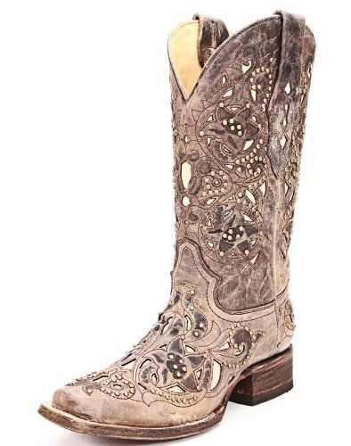 Amazon.com  Corral Ladies Square Toe Brown Crater Bone Inlay And Studs  Western Boot  Shoes 3b3922c8d80