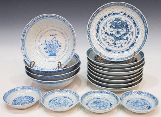 454 Lot Chinese Porcelain Rice Pattern Dinnerware Lot 454 Asian Dishware Dinnerware Patterned Dishes