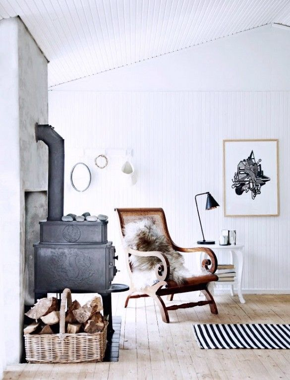 Living room seating area with wood-burning stove and fur accents
