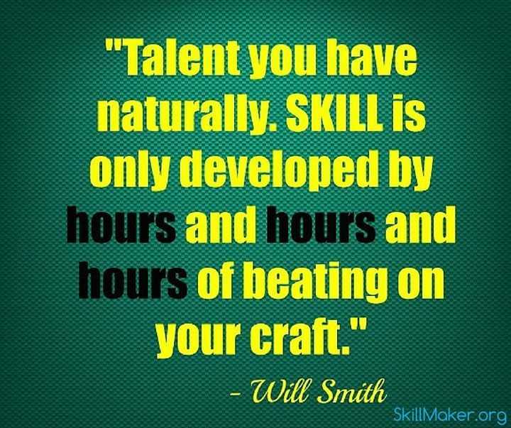 Skillmaker Talent You Have Naturally Skill Is Only Startup Quotes Weekly Inspirational Quotes Job Quotes