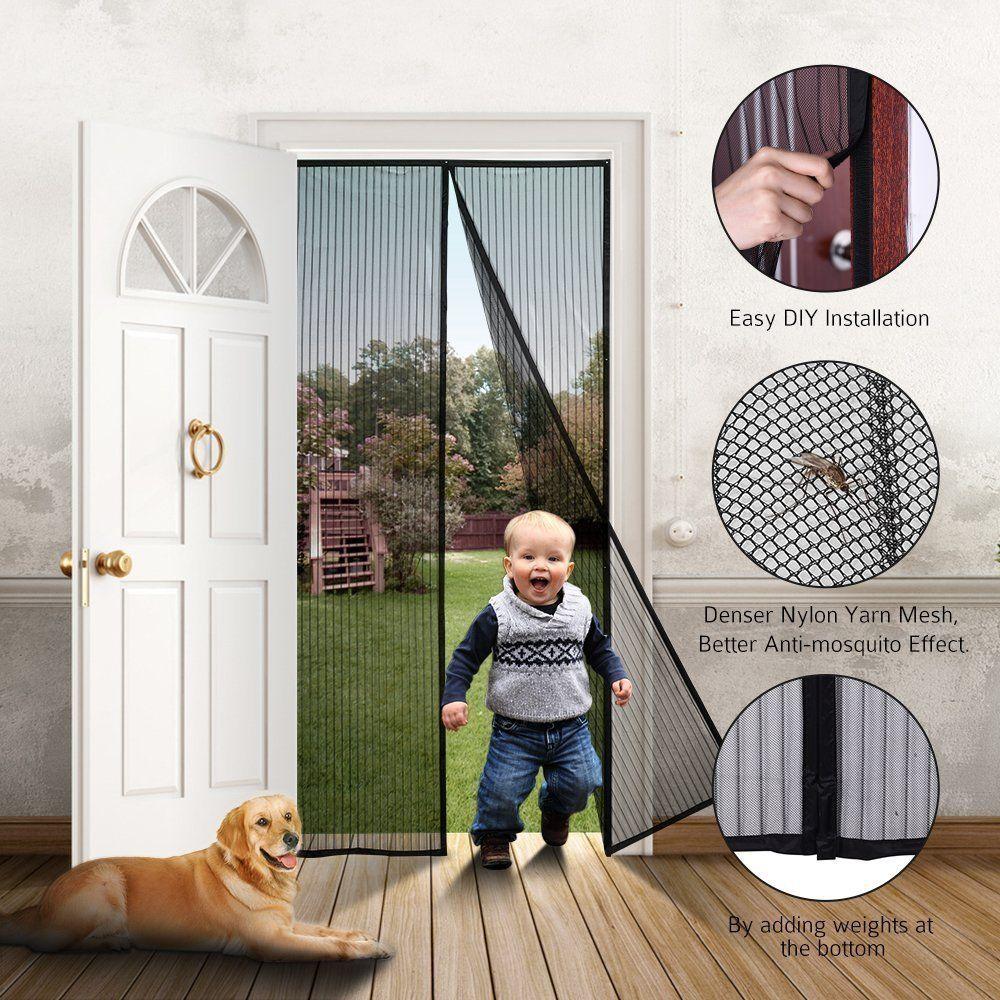 Magnetic Screen Door, UNI-FAM Mesh Curtain, Full Frame Velcro Bug ...