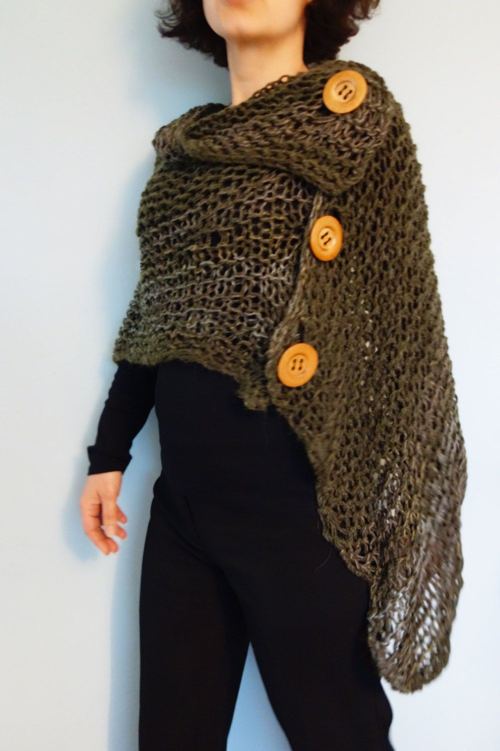 Knitting Pattern - 3 Button Loose Knit Poncho, Asymmetrical ...