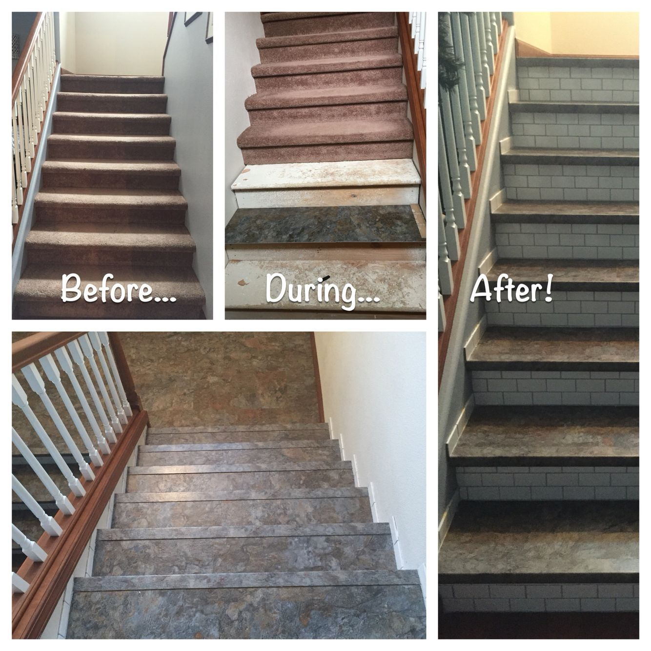 Stair Makeover Removed Carpet Thank Goodness Found Gorgeous Luxury Vinyl For The Runners And Subway Tile For The Risers Subwa Stair Makeover Stairs Home