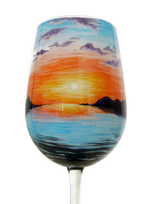 Sunset Wine Glass Hand Painted Beach Nautical Home Decor Unique Art Gift Collectible Penguin Do Glasses Painting Glassware