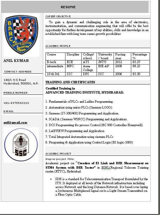 Resume Format Professional Free Download One Page Creative