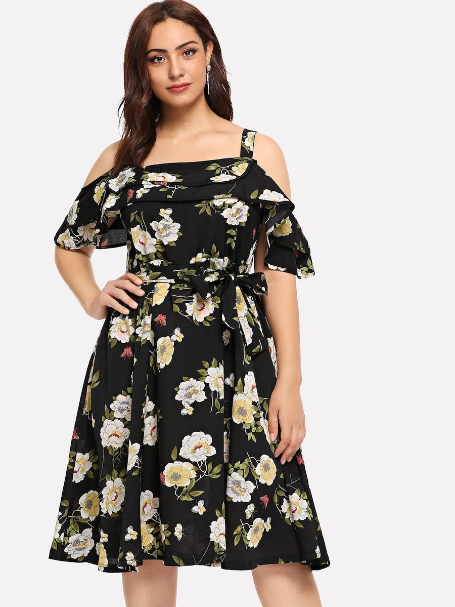 7897514bee Plus Cold Shoulder Flounce Embellished Dress -SheIn(Sheinside ...