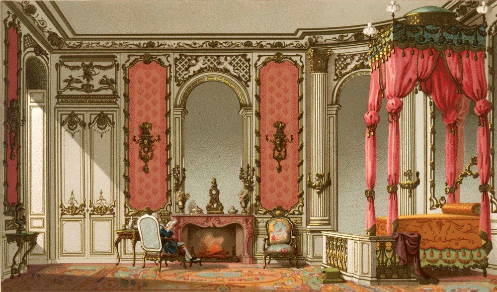 1876 chromolithograph of an 18th century Rococo bedroom in France.