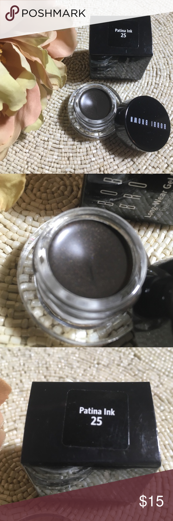 """Bobbi brown gel eyeliner Brand new and authentic• in the color """"patina ink"""" • this is brown with slight gold shimmer Sephora Makeup Eyeliner"""