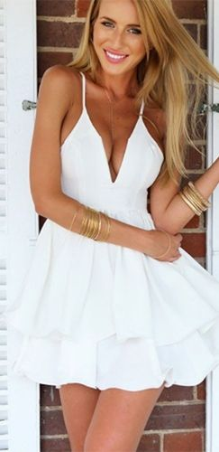 4a0deeafec White Spaghetti Strap Plunge V Neck Double Layer Tiered Ruffle Skater  Circle A Line Flare Mini Dress