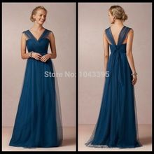 StyleBeautiful V Neck Mother of the Bride Dresses Navy A-Line Tulle Floor Length Mother of the Groom Dresses 2014 Cheap(China (Mainland))