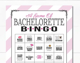 Bachelorette Party Bingo Dare Sheet Digital File Print It Yourself With Pink Black And Lace