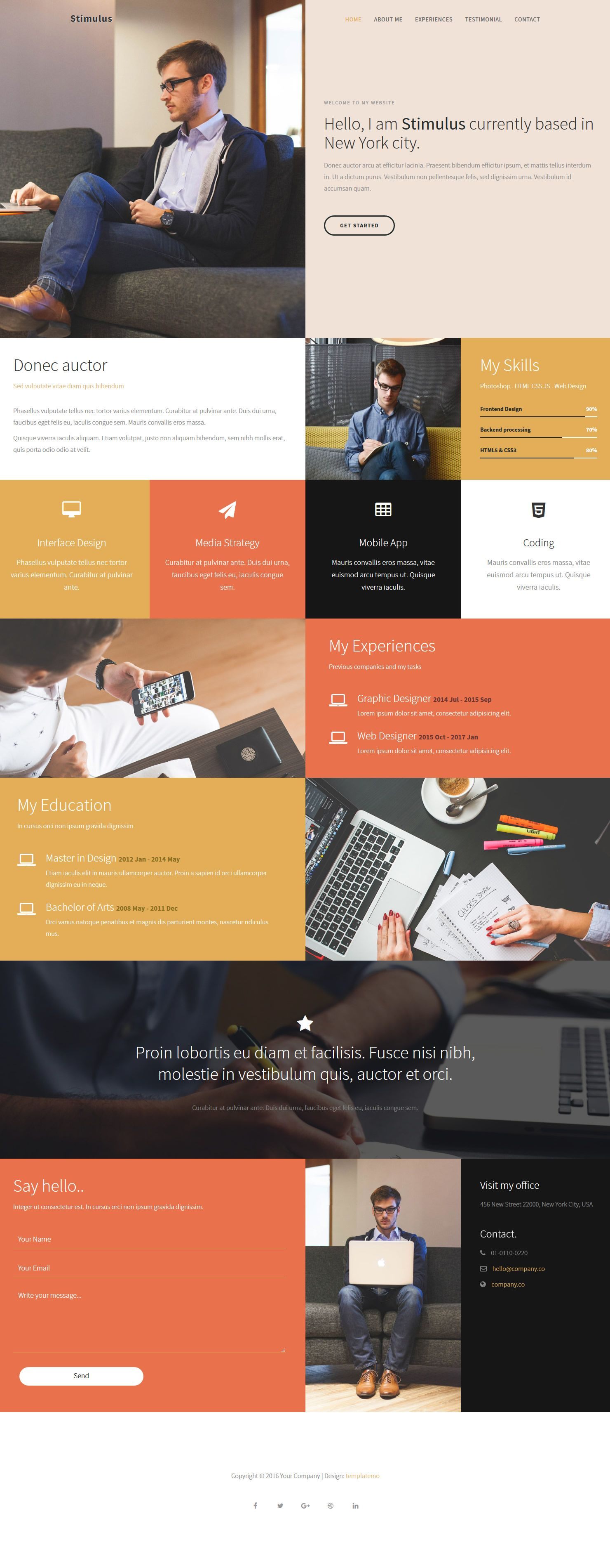 Webdesign Onepage Template Stimulus Template Is A One Page Html Css Layout With Metro Style Sections Gold Orange Red Web Design Webdesign Screendesign