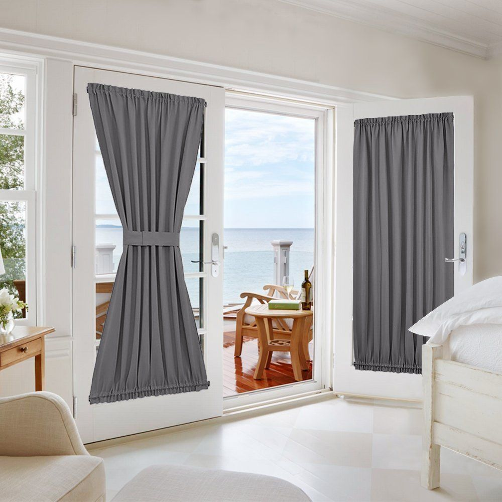 Nicetown Grey French Door Curtains Blackout Patio Door Glass