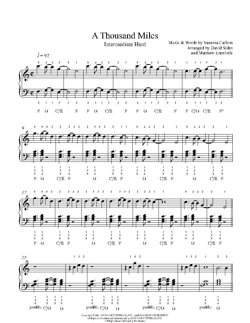A Thousand Miles by Vanessa Carlton Piano Sheet Music ...