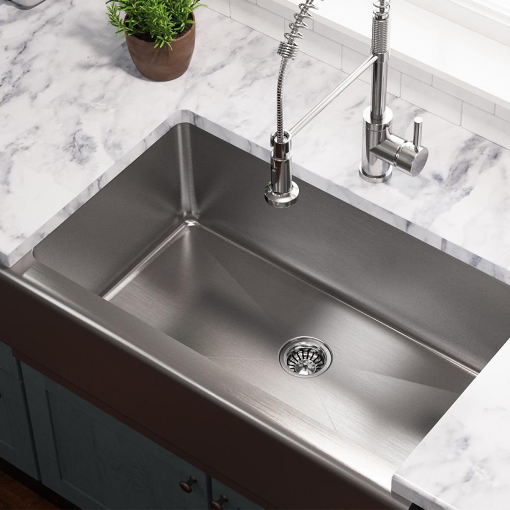 Farmhouse Stainless Steel Undermount Kitchen Sink Farmhouse Stainless Steel In 2020 Best Kitchen Sinks Farmhouse Sink Kitchen Single Bowl Kitchen Sink