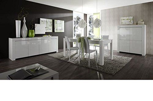 Base Alta porta tv credenza Amalfi bianco laccato lucido: Amazon.it: Casa e cucina