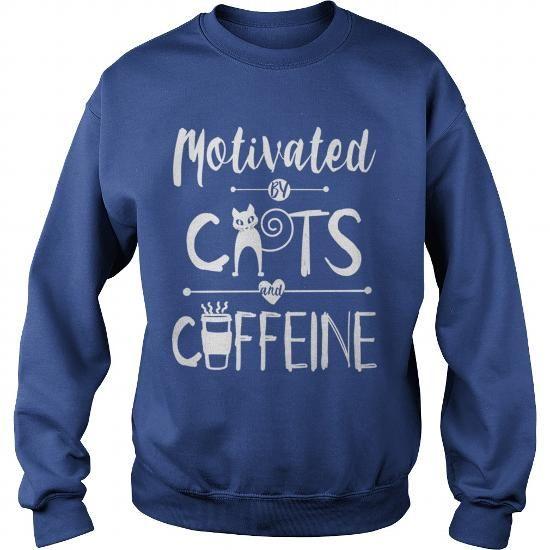 Motivated by Cats and Caffeine Dark T Grandpa Grandma Dad Mom Girl Boy Guy Lady Men Women Man Woman Cat Meow Lover