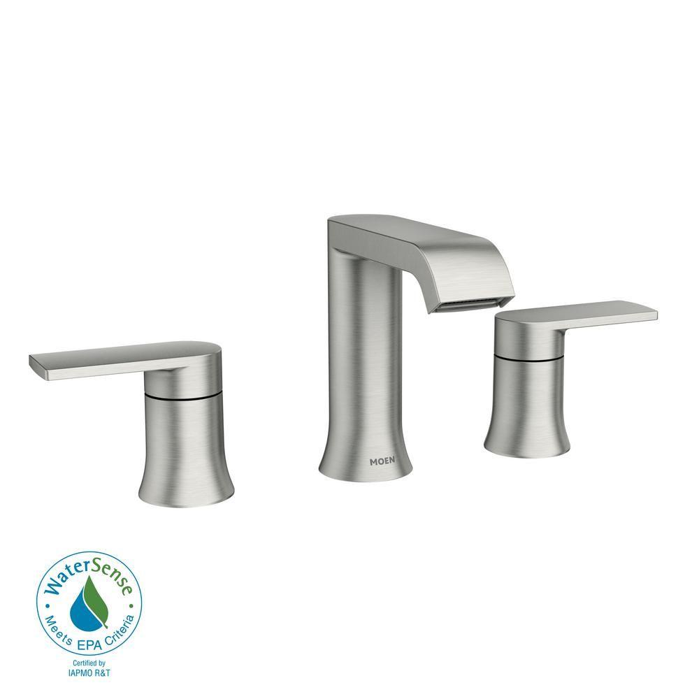 Moen genta 8 in widespread 2 handle bathroom faucet in spot resist brushed nickel