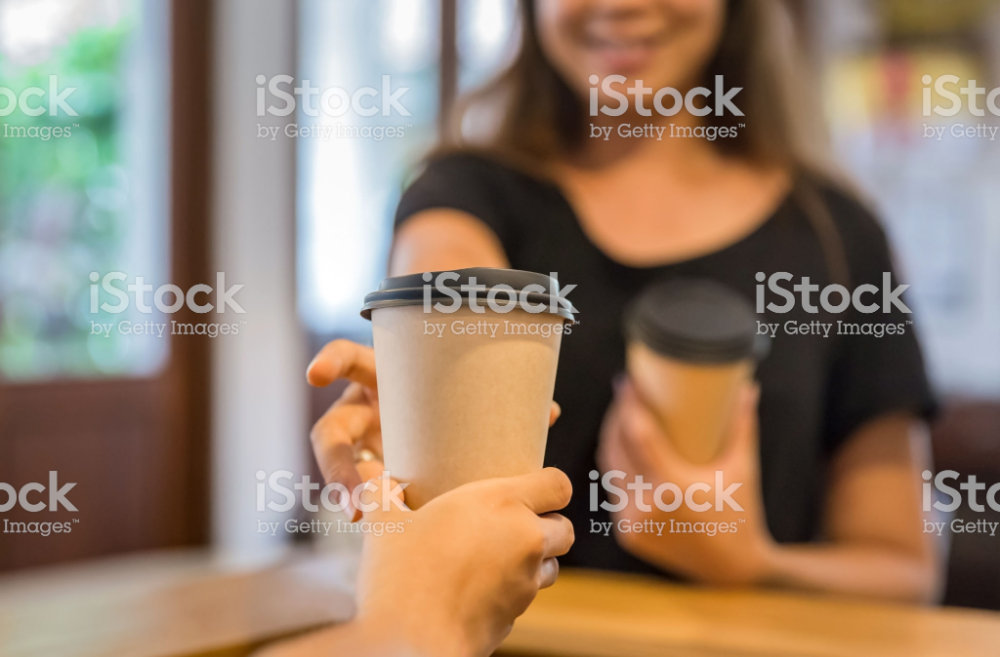 Close Up Shot Young Asian Woman Picking Up Takeaway Coffee From Stock Images Free Coffee Photos Get One