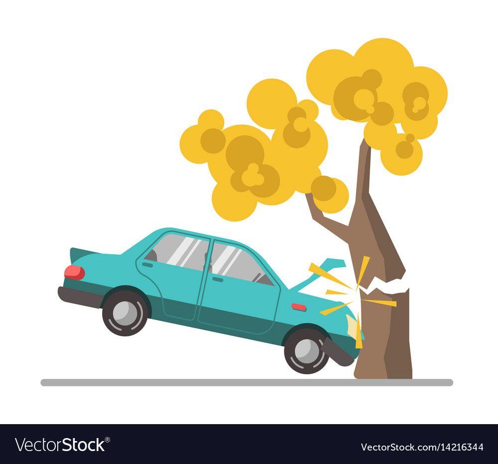 Car Crash Accident In Tree Flat Vector Image On Vectorstock Car Crash Car Easy Drawings