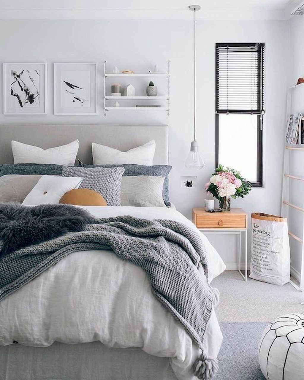Use Of Fabric Headboard In Light Gray Sand With Gray And White
