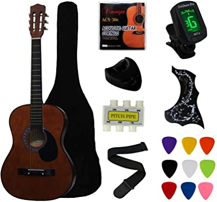 Amazon Com Ymc 38 Coffee Beginner Acoustic Guitar Starter Package Student Guitar With Gig Bag Strap 3 Thi In 2021 Best Acoustic Guitar Cheap Acoustic Guitars Guitar