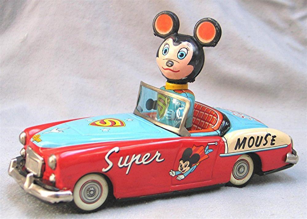 Vintage Super Mouse Car Tin Friction Made in Japan