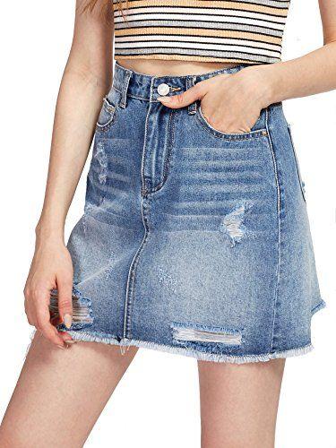 d0198c47d Verdusa Women's Casual Distressed Ripped A-Line Denim Short Skirt - https://